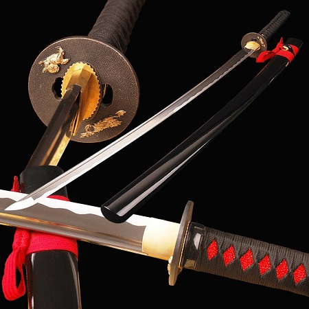 Image That Shows That Full Tang Japanese Samurai Katana High Carbon Steel Sword.